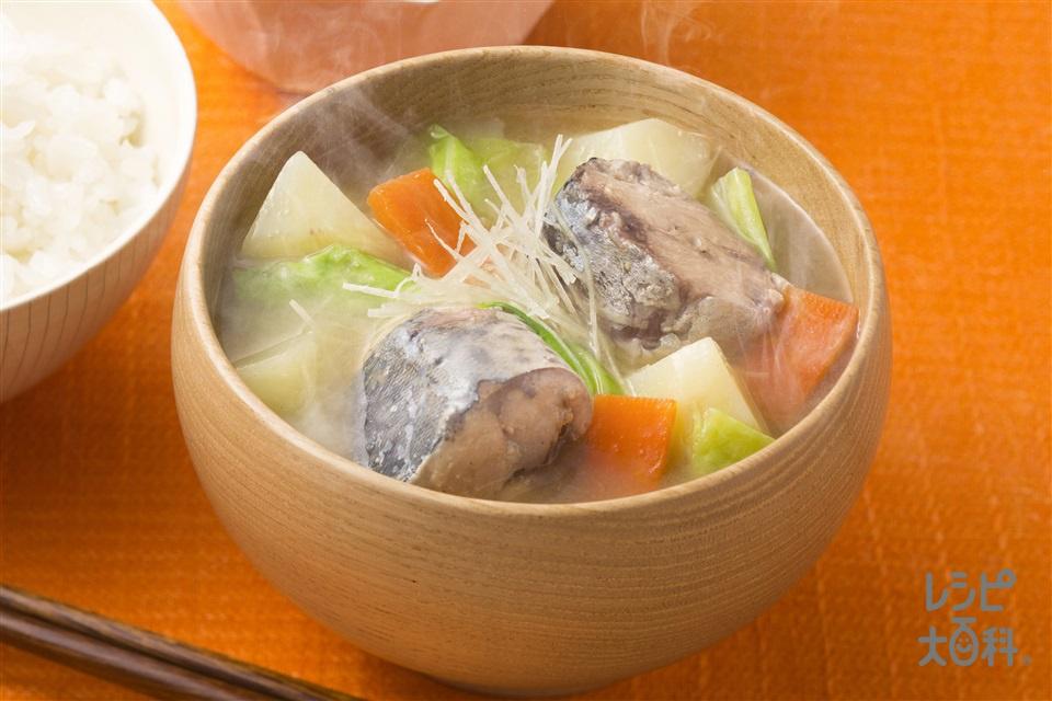 さばとゴロゴロ野菜の絶品汁(さば水煮缶+じゃがいもを使ったレシピ)
