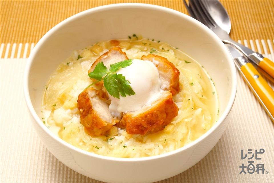 親子スープかけごはん(ご飯+から揚げ(市販品)を使ったレシピ)