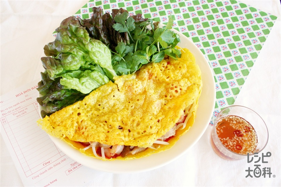 バインセオ(むきえび+豚バラ薄切り肉を使ったレシピ)