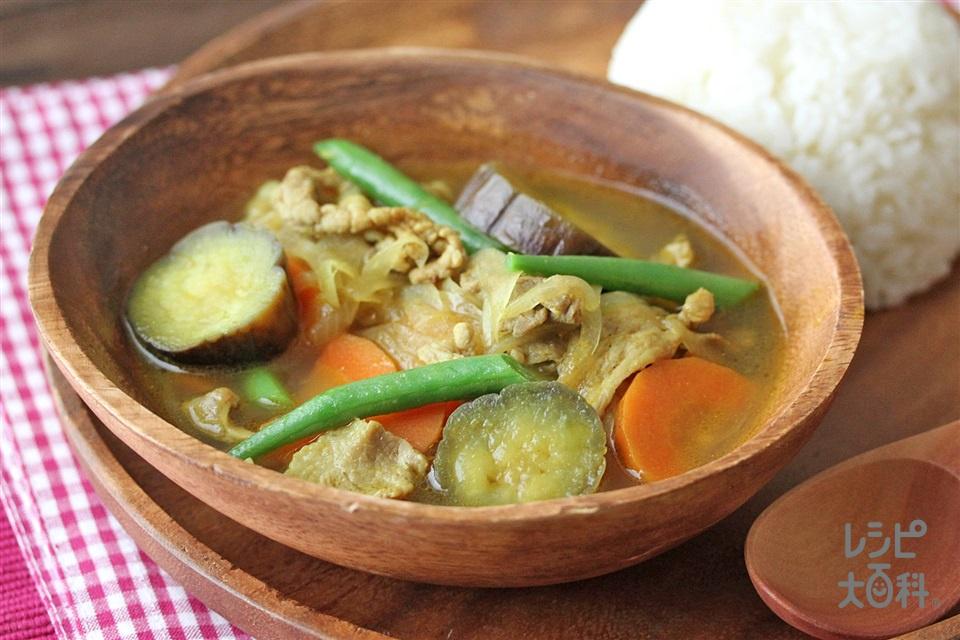 豚肉と茄子のスープカレー(豚こま切れ肉+ご飯を使ったレシピ)