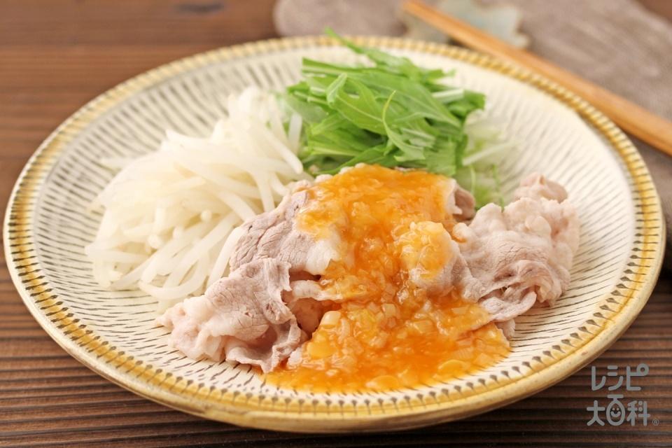 豚しゃぶのピリ辛あんかけ(豚しゃぶしゃぶ用肉+もやしを使ったレシピ)