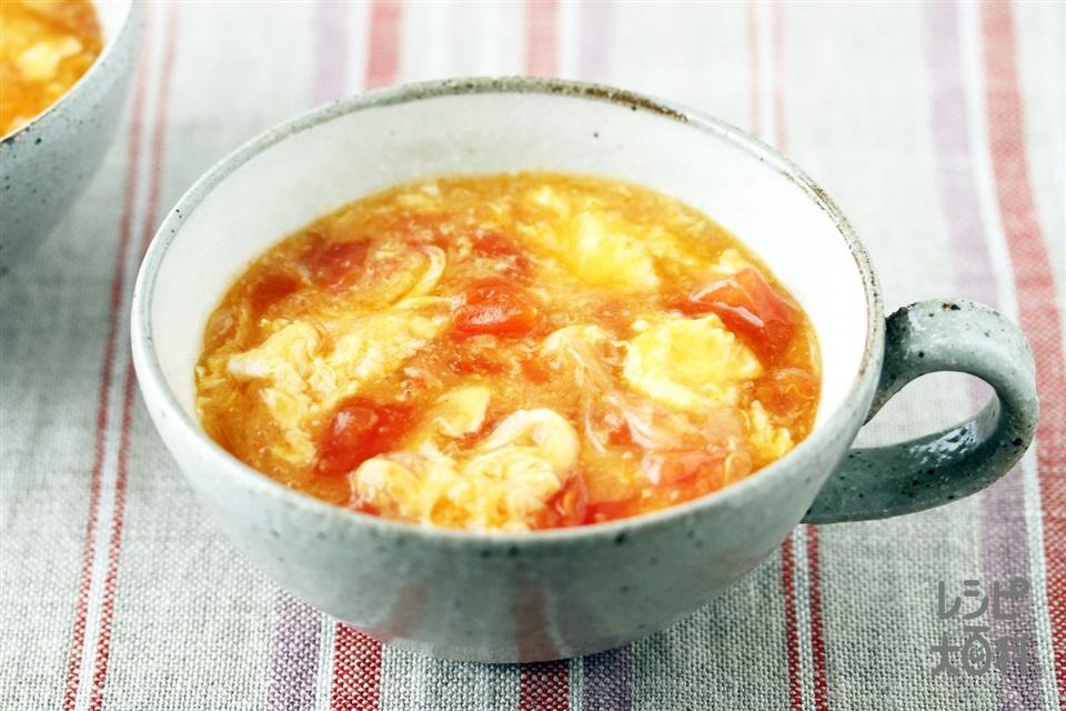 トマトと卵のとろっとキムチスープ(トマト+卵を使ったレシピ)