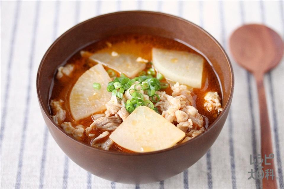 豚肉と大根の味噌キムチスープ(豚こま切れ肉+大根を使ったレシピ)