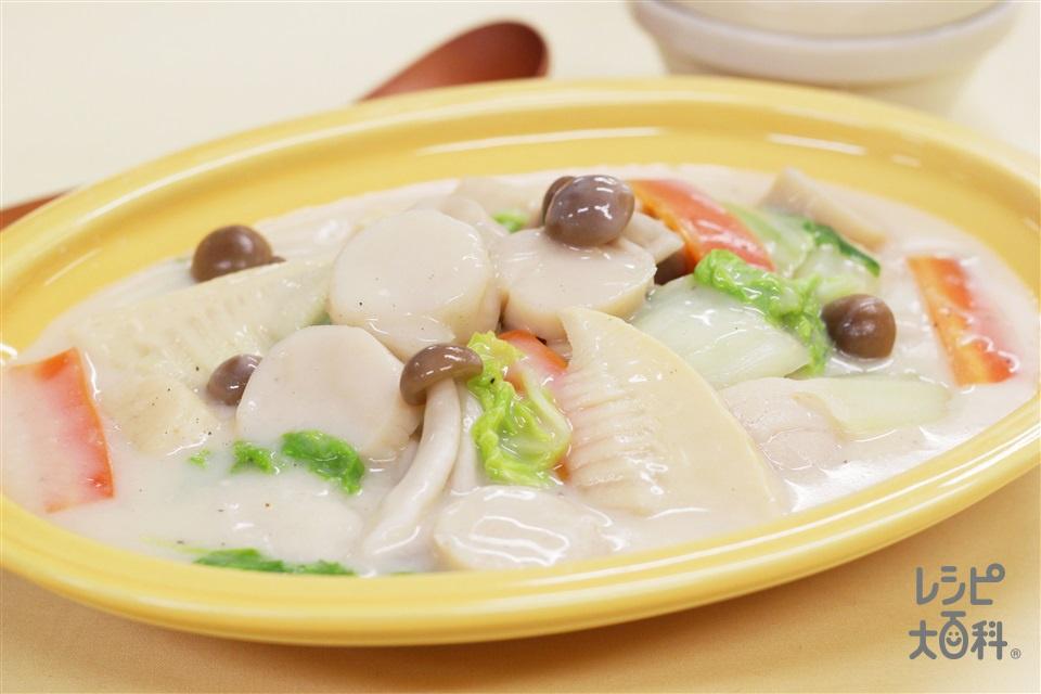 ほたてと白菜のクリーム煮(帆立貝柱(刺身)+白菜を使ったレシピ)