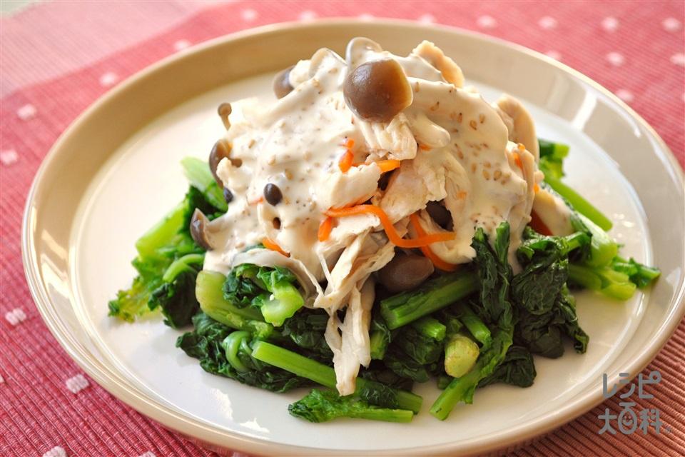 なばなと蒸し鶏の和風ごまマヨサラダ(菜ばな+鶏ささ身を使ったレシピ)