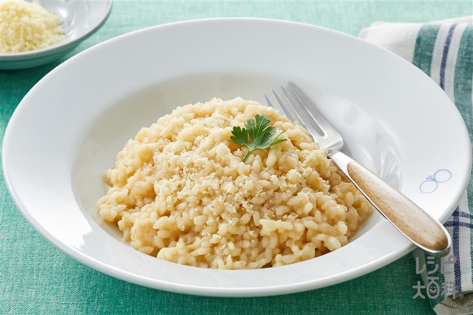 チーズリゾット(米+玉ねぎのみじん切りを使ったレシピ)