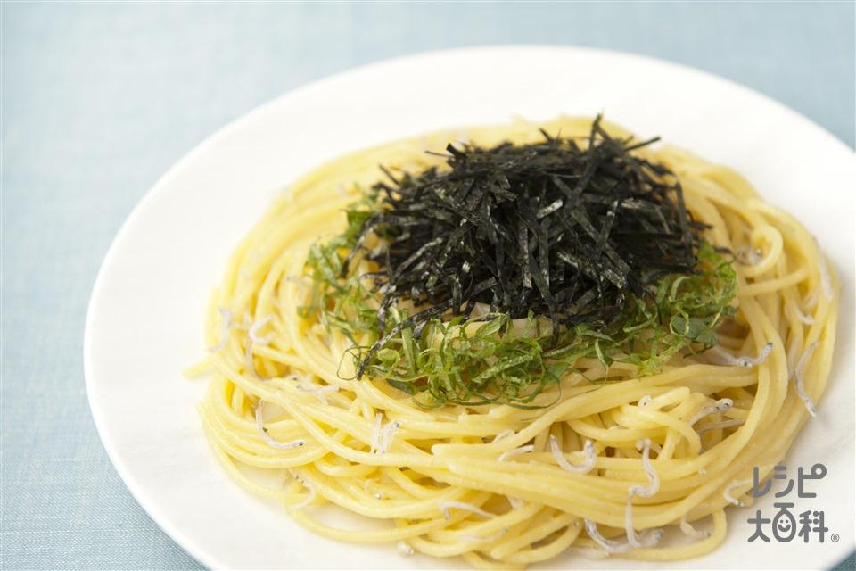 海苔パスタ(スパゲッティ+ちりめんじゃこを使ったレシピ)