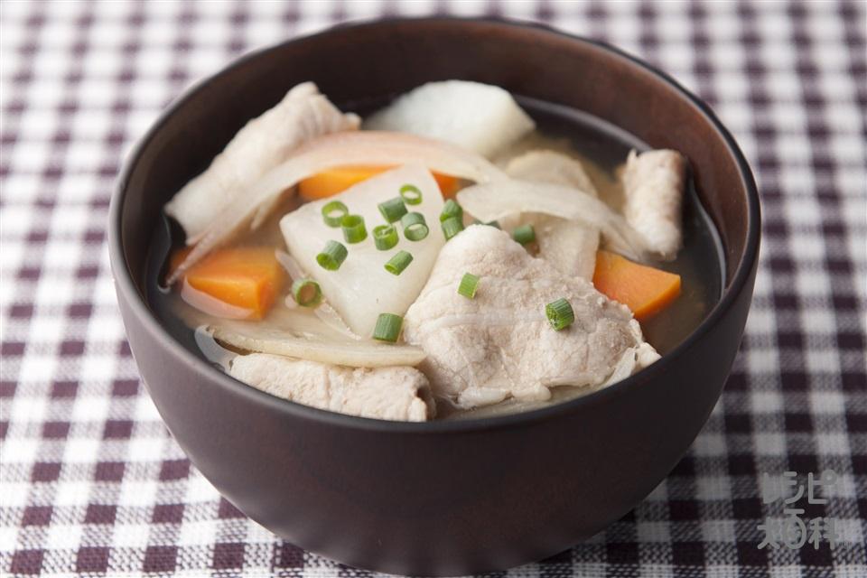 塩豚汁(豚バラ薄切り肉+大根を使ったレシピ)