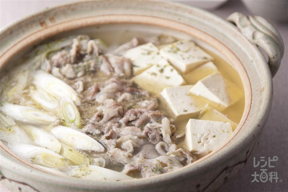 ねぎ鍋(豚こま切れ肉+木綿豆腐を使ったレシピ)