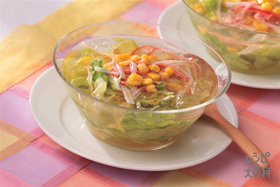 レタスたっぷり冷製丸鶏スープ(レタス+かに風味かまぼこを使ったレシピ)