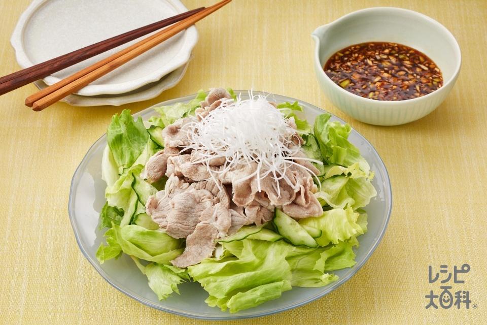 ピリ辛だれのねぎ豚しゃぶ(豚しゃぶしゃぶ用肉+レタスを使ったレシピ)