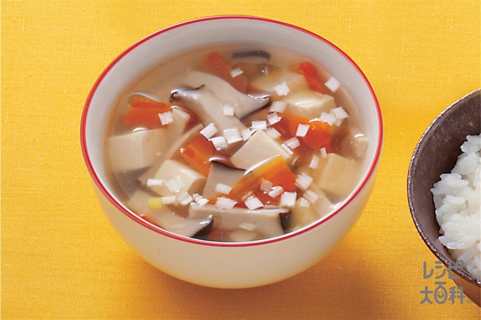 豆腐とエリンギのとろみ汁(絹ごし豆腐+エリンギを使ったレシピ)