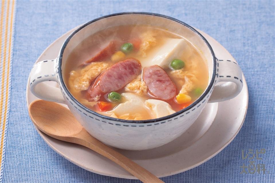 豆腐とソーセージのコンソメスープ(木綿豆腐+溶き卵を使ったレシピ)
