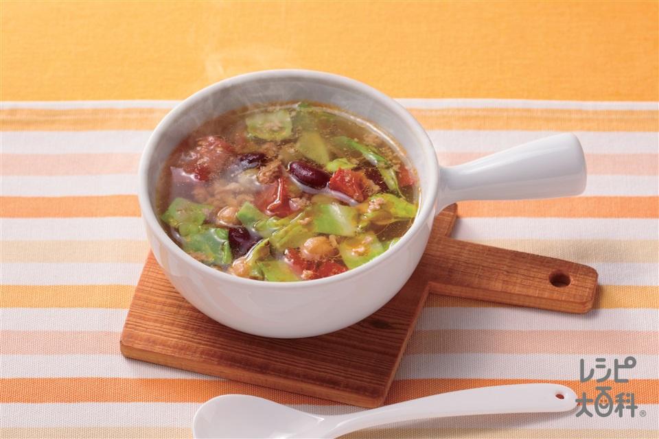 レンジで作るお豆と野菜の洋風スープ(トマト+鶏ひき肉を使ったレシピ)
