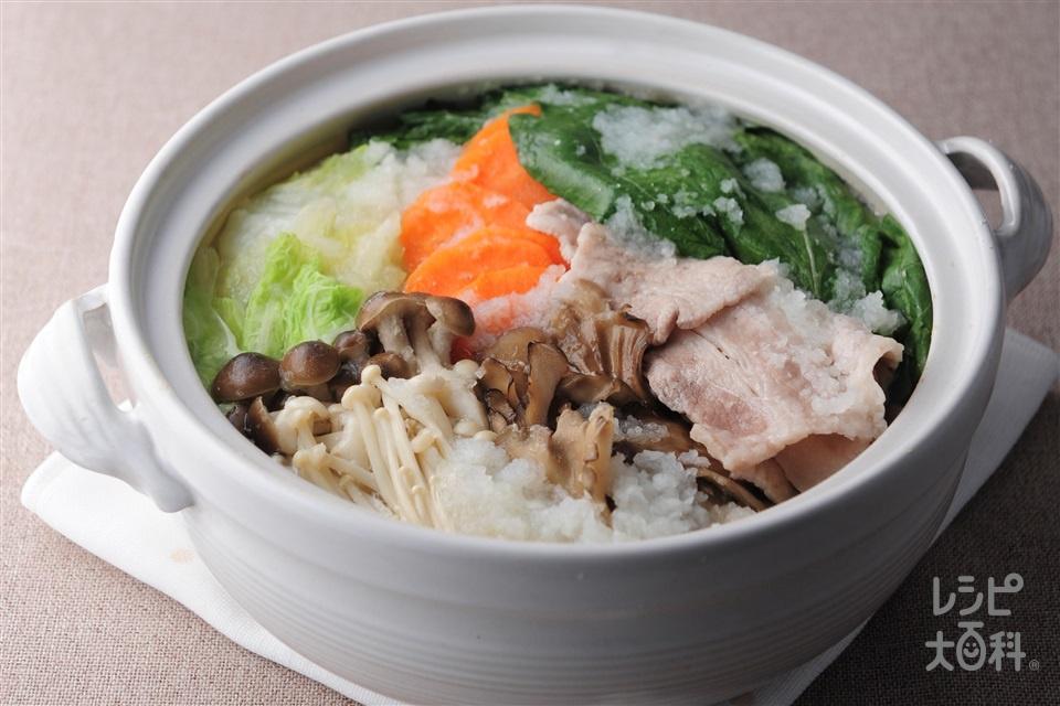 豚バラみぞれ鍋(豚バラ薄切り肉+大根おろしを使ったレシピ)