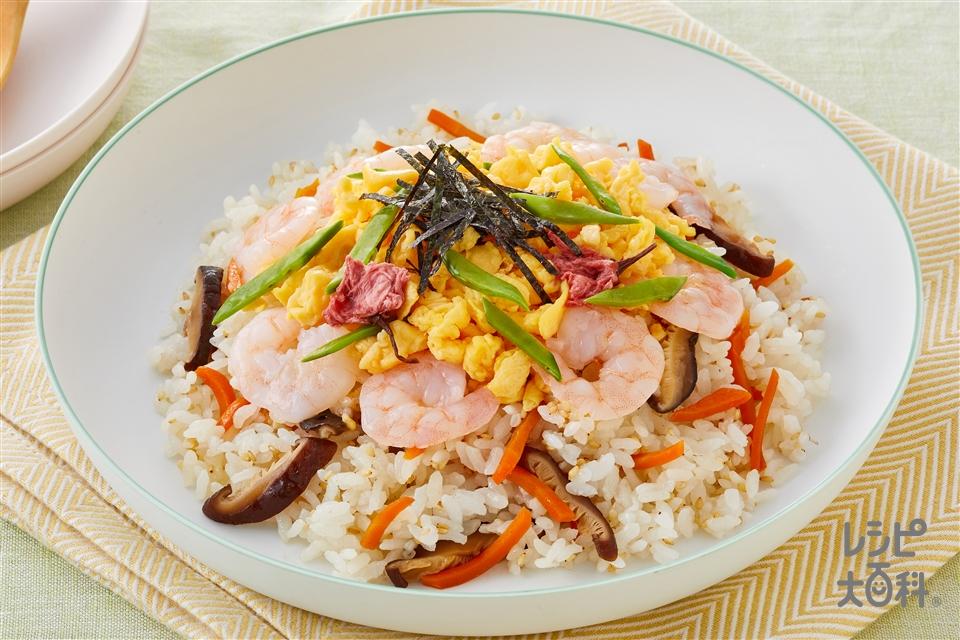 春の彩りちらし寿司(米+むきえびを使ったレシピ)