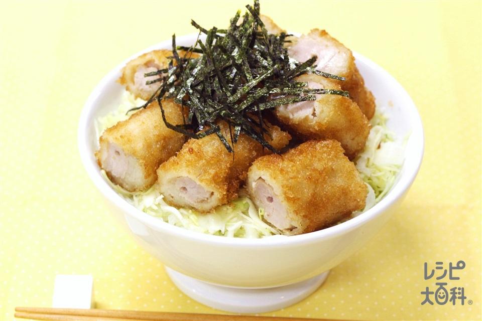 超簡単!豚から揚げのっけ丼(キャベツのせん切り+温かいご飯を使ったレシピ)