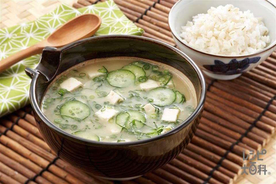 冷や汁(木綿豆腐+麦ご飯を使ったレシピ)