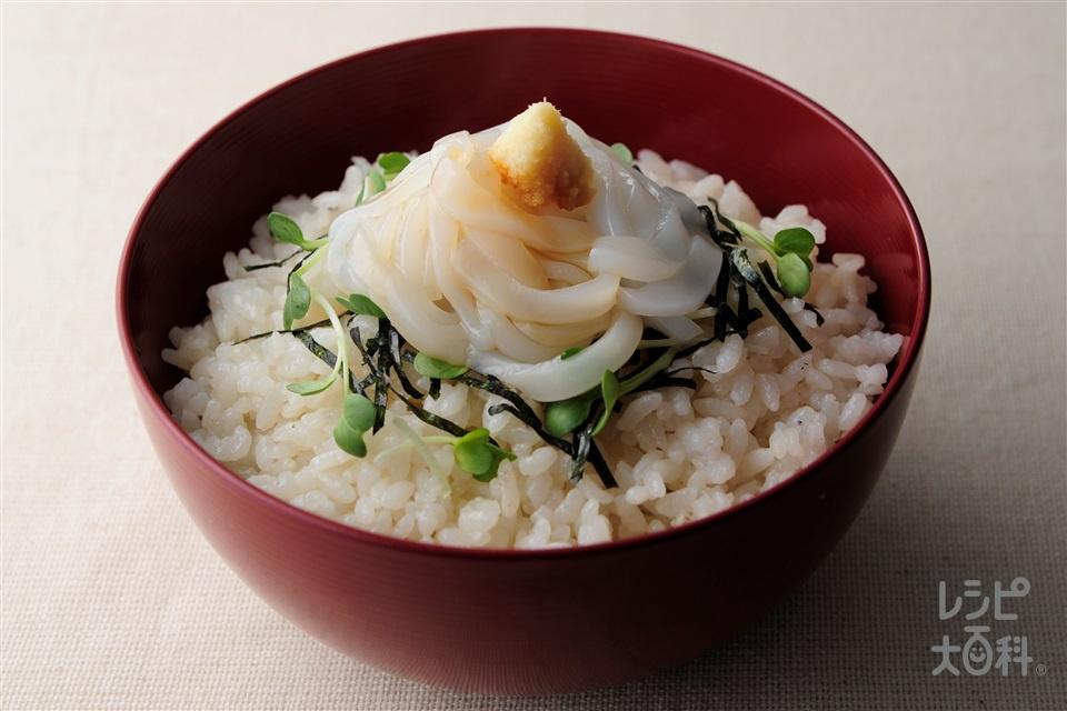 イカマヨご飯(いかそうめん+温かいご飯を使ったレシピ)