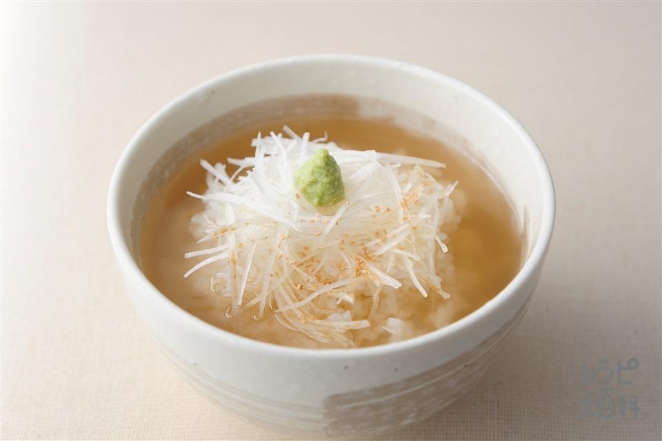 「ほんだし」わさび茶漬け(ご飯+白髪ねぎを使ったレシピ)
