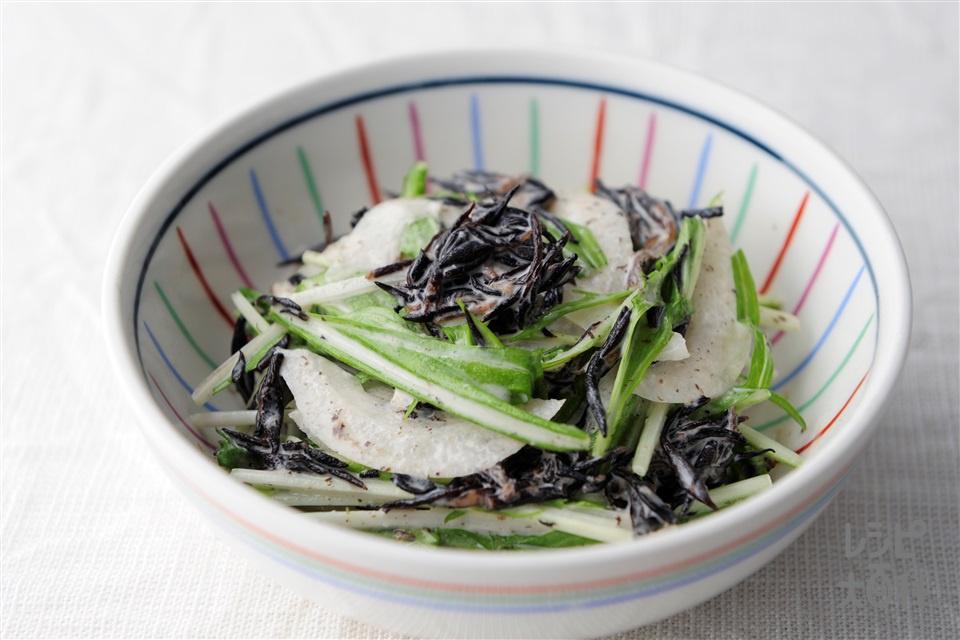 ひじきの味噌マヨサラダ(玉ねぎ+水菜を使ったレシピ)