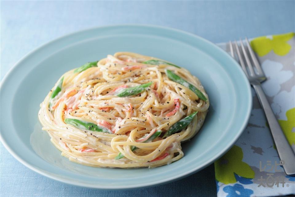 チーズクリームパスタ(スパゲッティ+生クリーム(低脂肪)を使ったレシピ)
