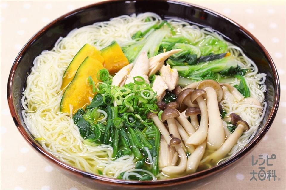 お野菜たっぷりにゅうめん(そうめん+白菜を使ったレシピ)