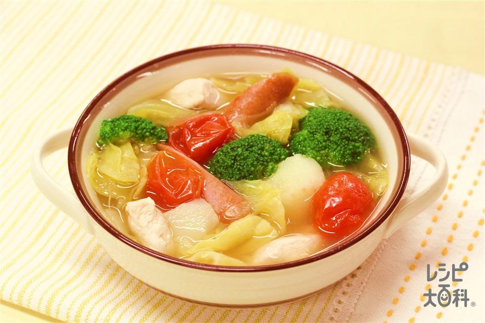 春キャベツのカラフルスープ(春キャベツ+じゃがいもを使ったレシピ)