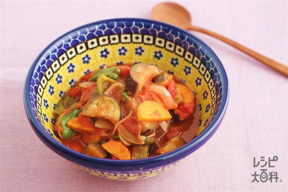 レンチンなすのトマト煮(なす+カットトマト缶を使ったレシピ)