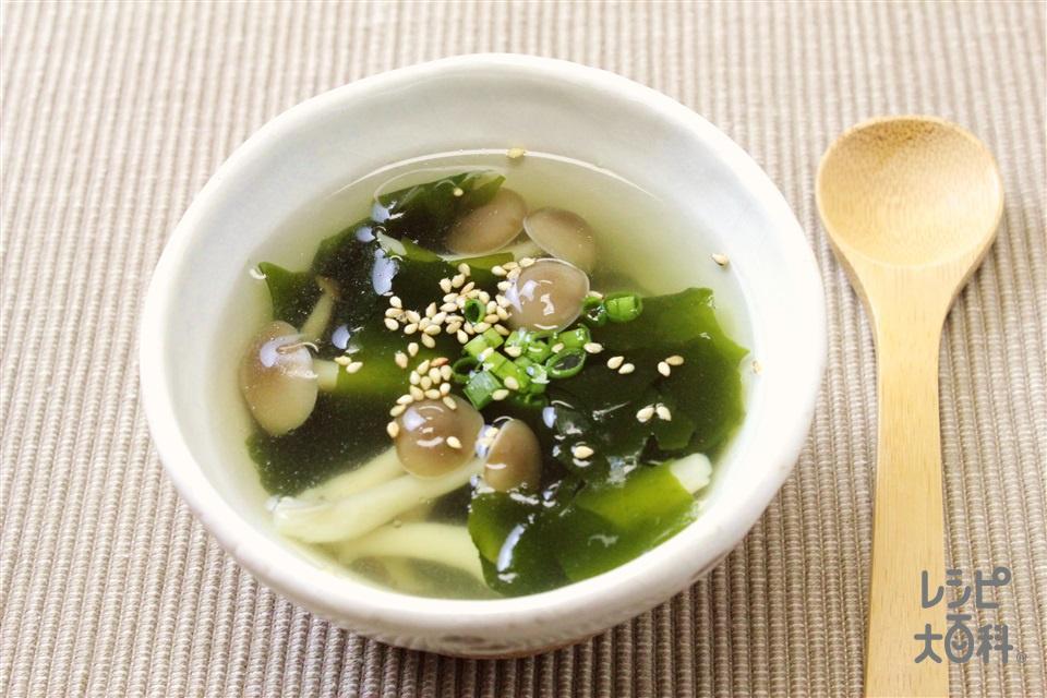 わかめとしめじの簡単スープ(カットわかめ(乾)+しめじを使ったレシピ)