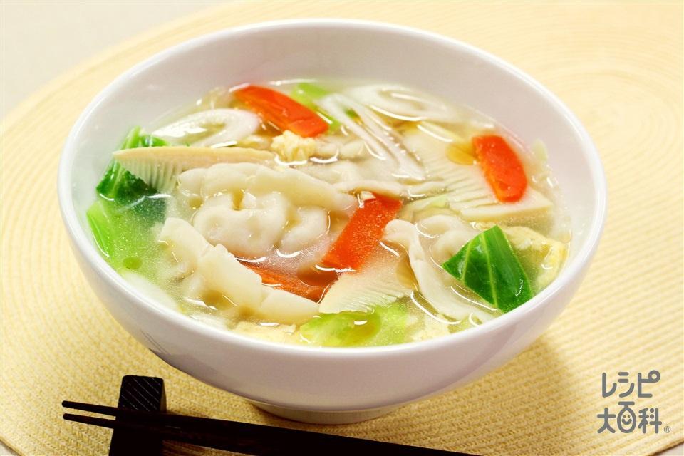 鶏だし・うま塩スープの水餃子(キャベツ+たけのこの水煮を使ったレシピ)