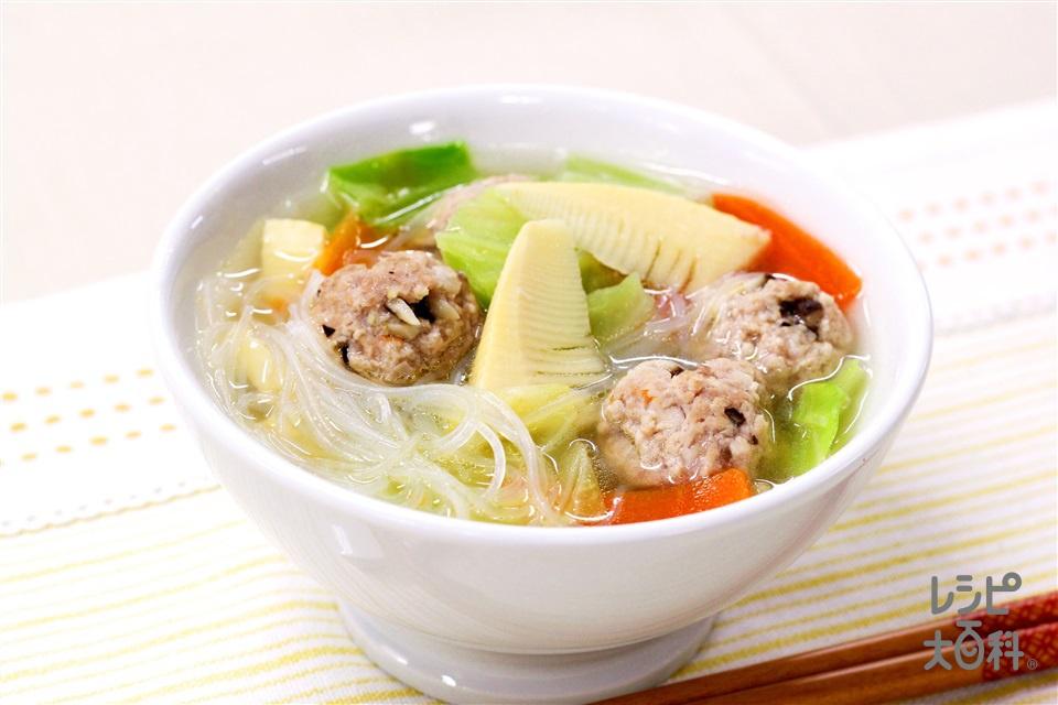 肉だんごとたけのこのはるさめスープ(豚ひき肉+Aしいたけを使ったレシピ)