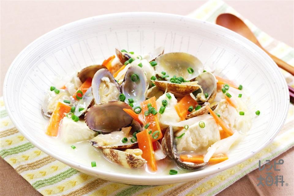 あさりと豆腐の香味あん(あさり(殻つき)+木綿豆腐を使ったレシピ)