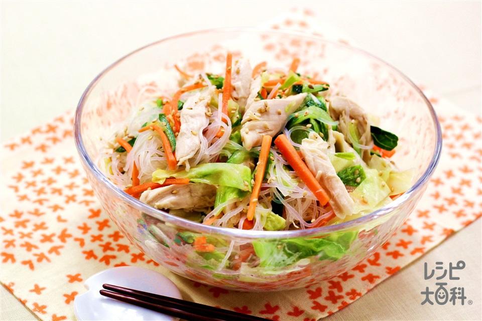 鶏ささ身と春雨のおかずサラダ(春雨(乾)+鶏ささ身を使ったレシピ)