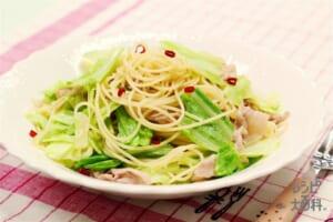 キャベツと豚肉のペペロンチーノ(スパゲッティ+キャベツを使ったレシピ)