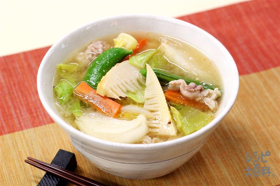 春野菜の絶品豚汁(豚バラ薄切り肉+春キャベツを使ったレシピ)