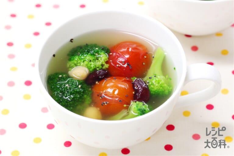 コラーゲンたっぷり ブロッコリーとミニトマトのクイックスープ