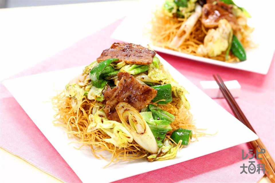 回鍋肉かた焼きそば(豚バラ薄切り肉+キャベツを使ったレシピ)