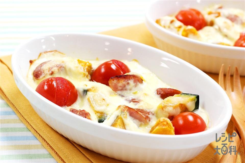 ~ヨーグルトで!~ミニトマトとかぼちゃのクイックグラタン(かぼちゃ+水きりヨーグルトを使ったレシピ)
