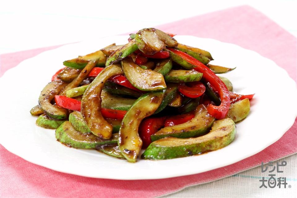 白瓜の中華みそ炒め(白うり+パプリカ(赤)を使ったレシピ)