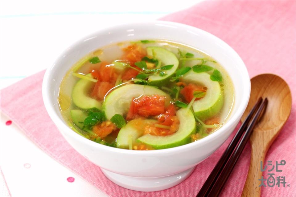 白瓜と豆苗のスープ(白うり+トマトを使ったレシピ)
