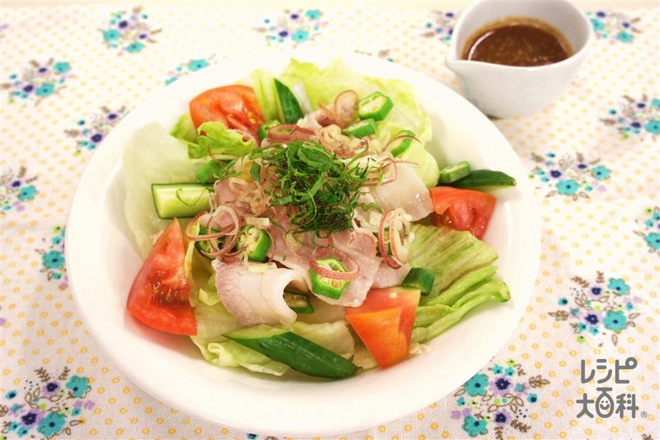 夏野菜の豚しゃぶサラダ(豚しゃぶしゃぶ用肉+トマトを使ったレシピ)
