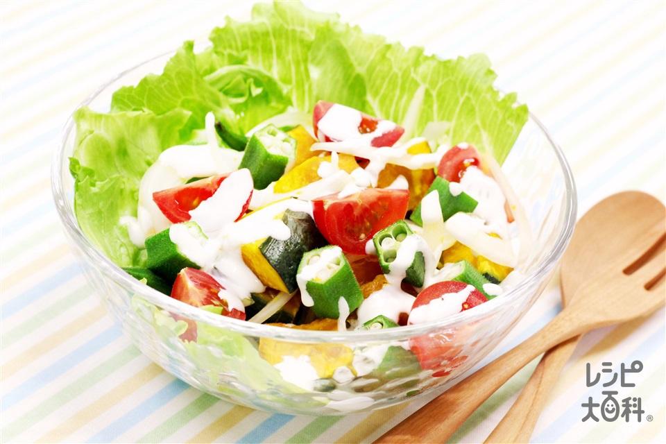 夏野菜たっぷり!ヨーグルトマヨサラダ(かぼちゃ+レタスを使ったレシピ)