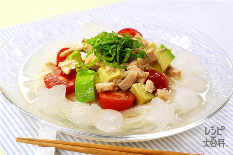 さっぱり冷製スープそうめん(そうめん+ミニトマトを使ったレシピ)
