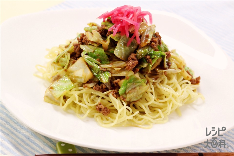 キャベツのジャージャー麺(中華生めん+キャベツを使ったレシピ)