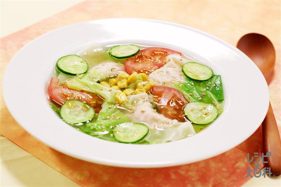 冷製ワンタンスープ(キャベツ+トマトを使ったレシピ)