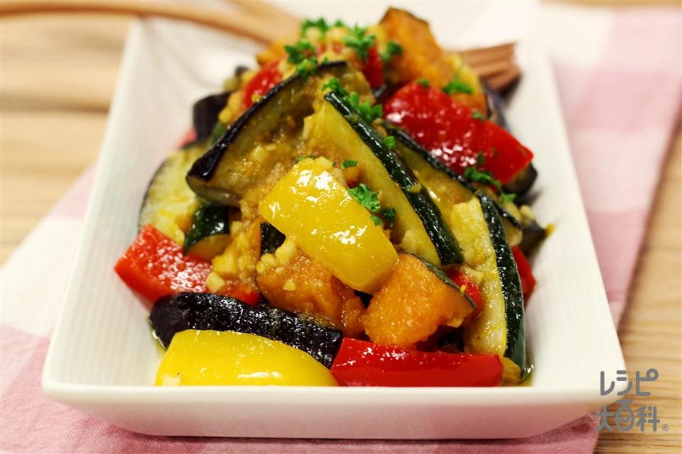 カラフル野菜のアンチョビマリネ(かぼちゃ+ズッキーニを使ったレシピ)