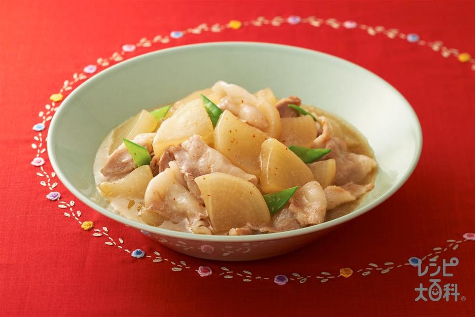 豚バラ大根~「ビストロ」を使って~(豚バラ薄切り肉+大根を使ったレシピ)