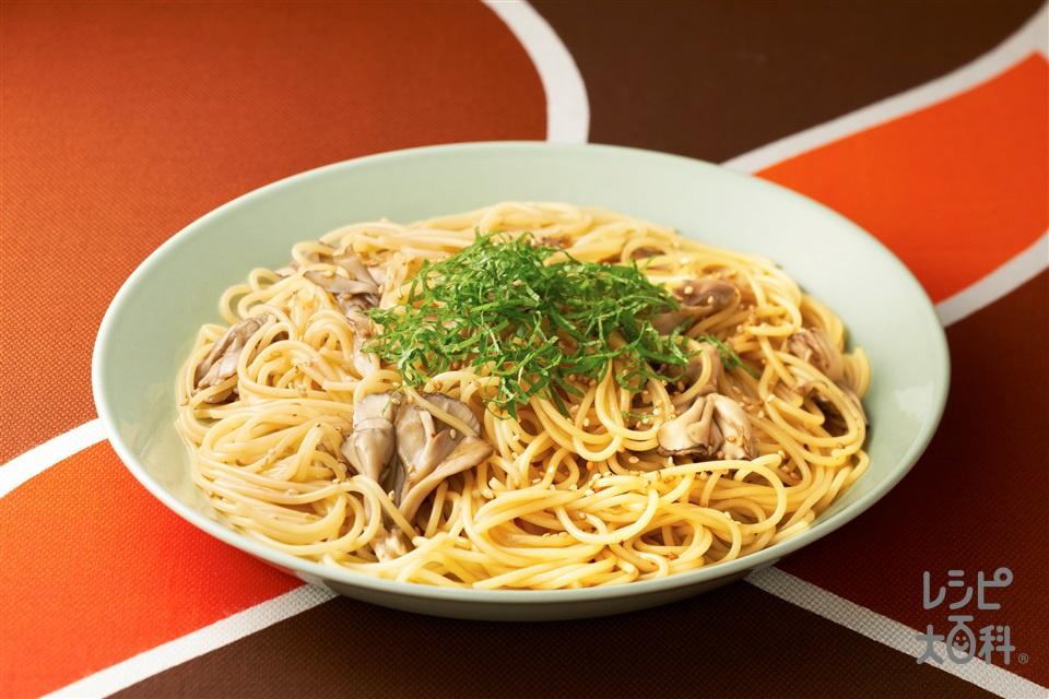 豚バラ大根用deパスタ~「ビストロ」を使って~(スパゲッティ+まいたけを使ったレシピ)