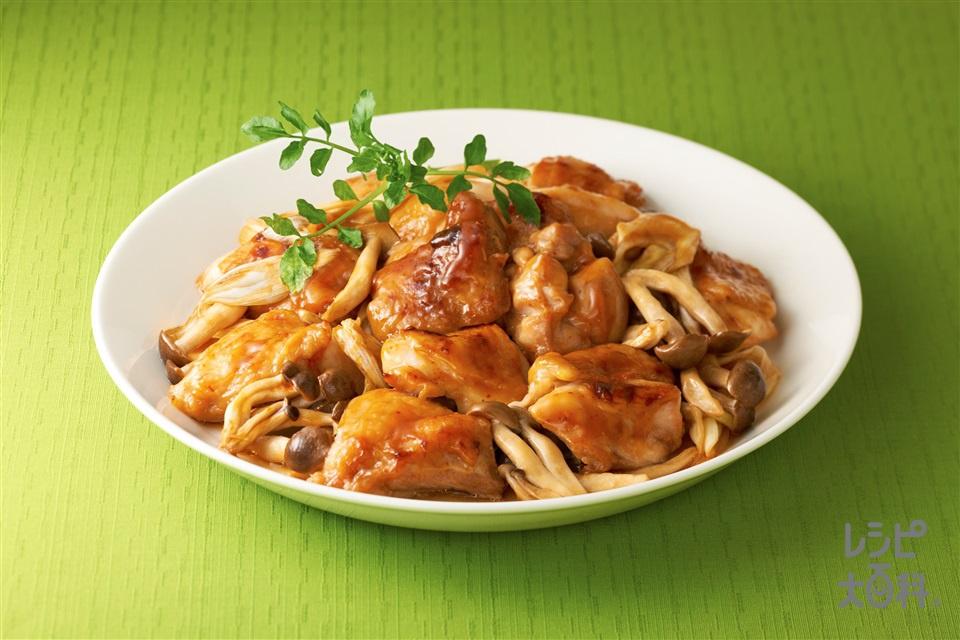 ガリバタ鶏~「ビストロ」を使って~(鶏もも肉+しめじを使ったレシピ)